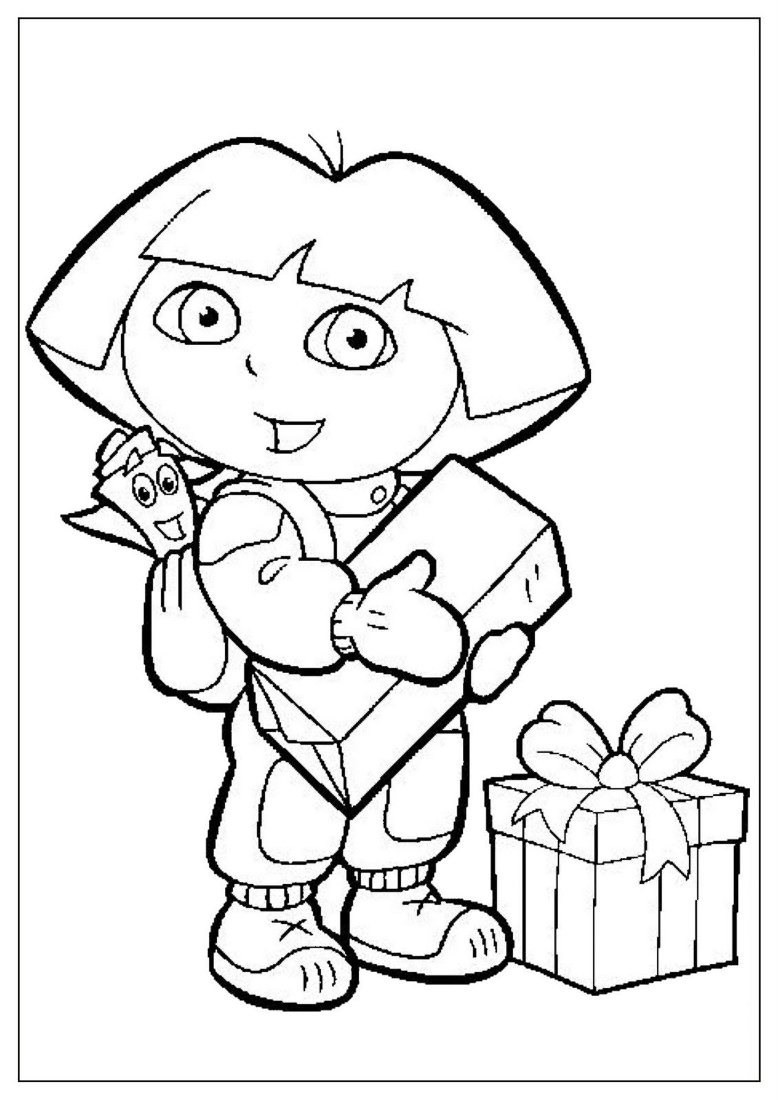 Dibujo Para Colorear De Dora La Exploradora Con Mochila Y