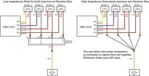 Wiring diagram converting high impedance injectors to low impedance injectors | Resistor Box in