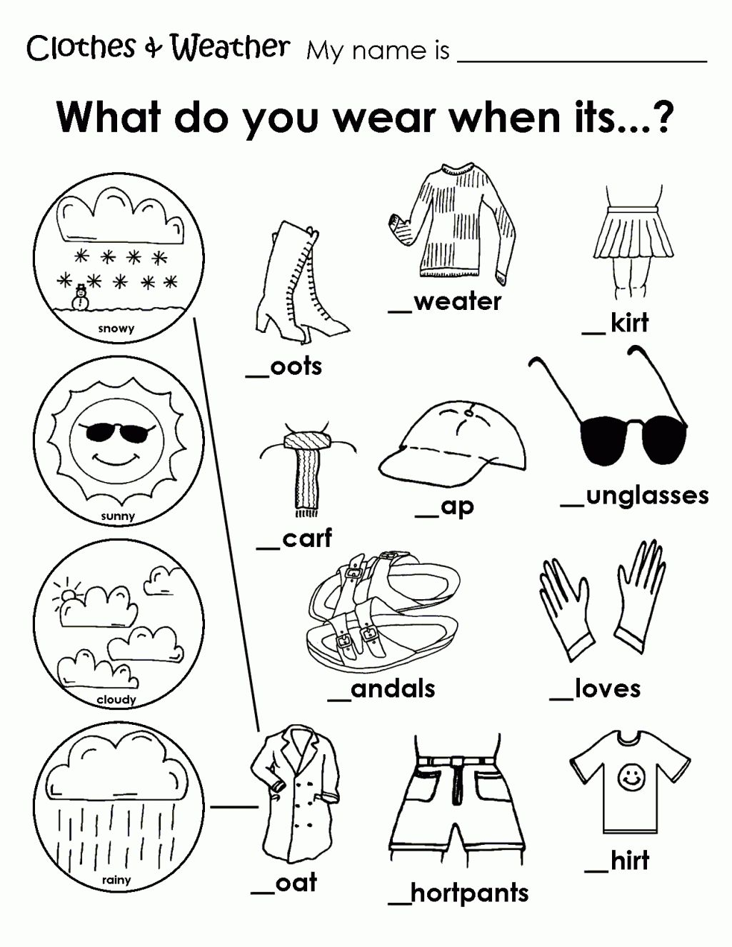 Free Coloring Pages Of Clothing Worksheet Weather Coloring Sheets For Kindergarten Weather