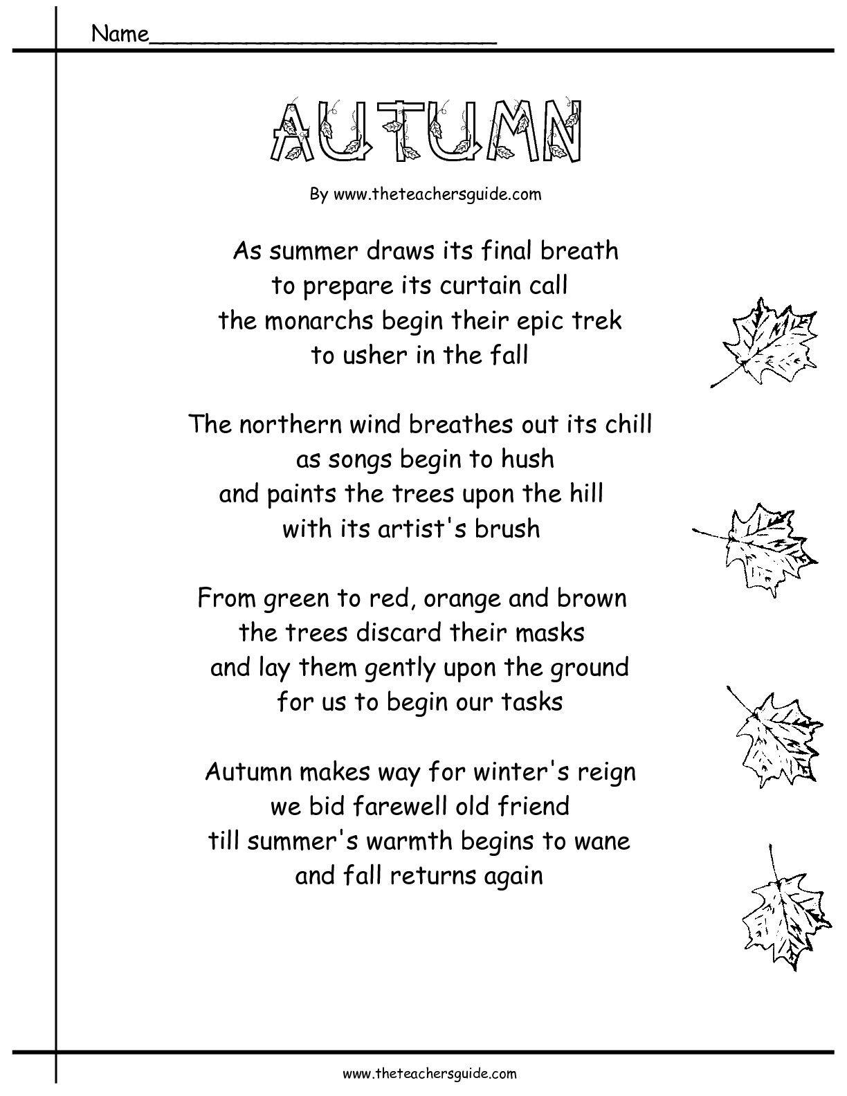Poems Bout Utumn Utumn Poem With Prehensi Questi S