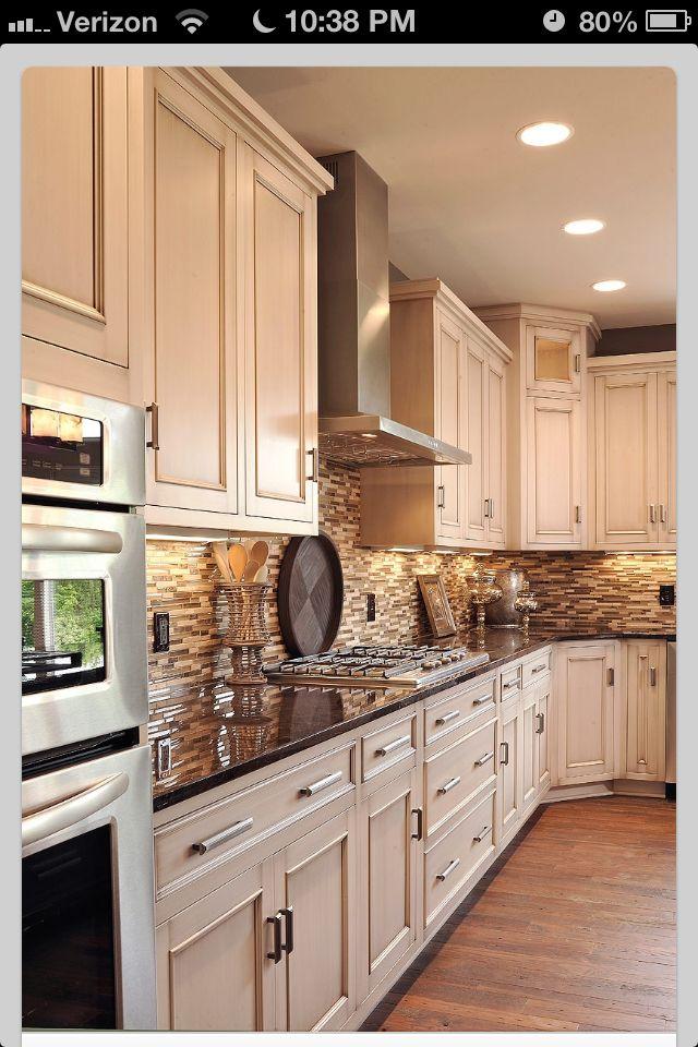 Neutral tile backsplash, dark countertops, light cabinets ... on Backsplash Ideas For Dark Cabinets And Light Countertops  id=93248