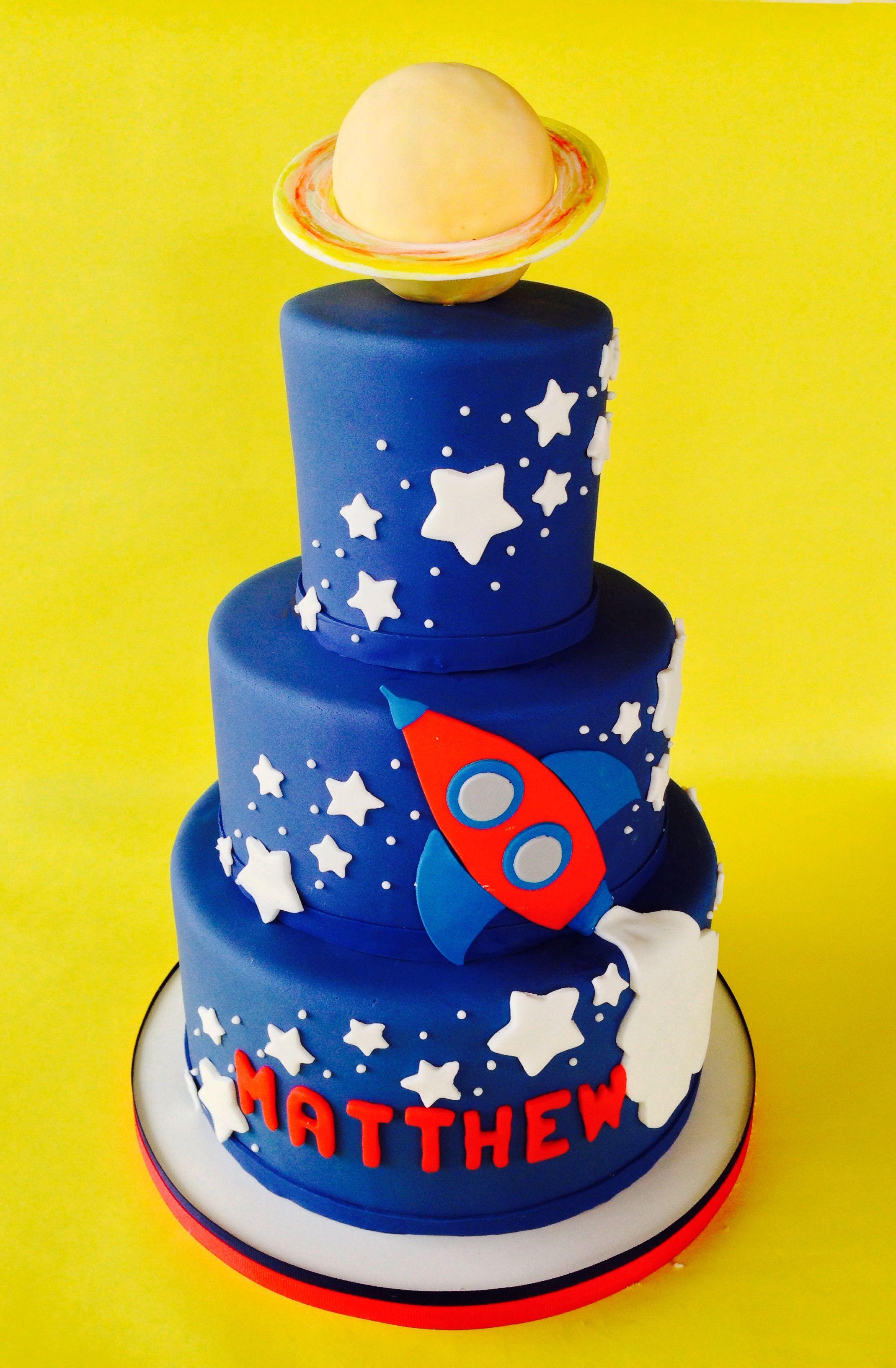 Saturn Stars Rocket Ship Space Birthday Cake Universe
