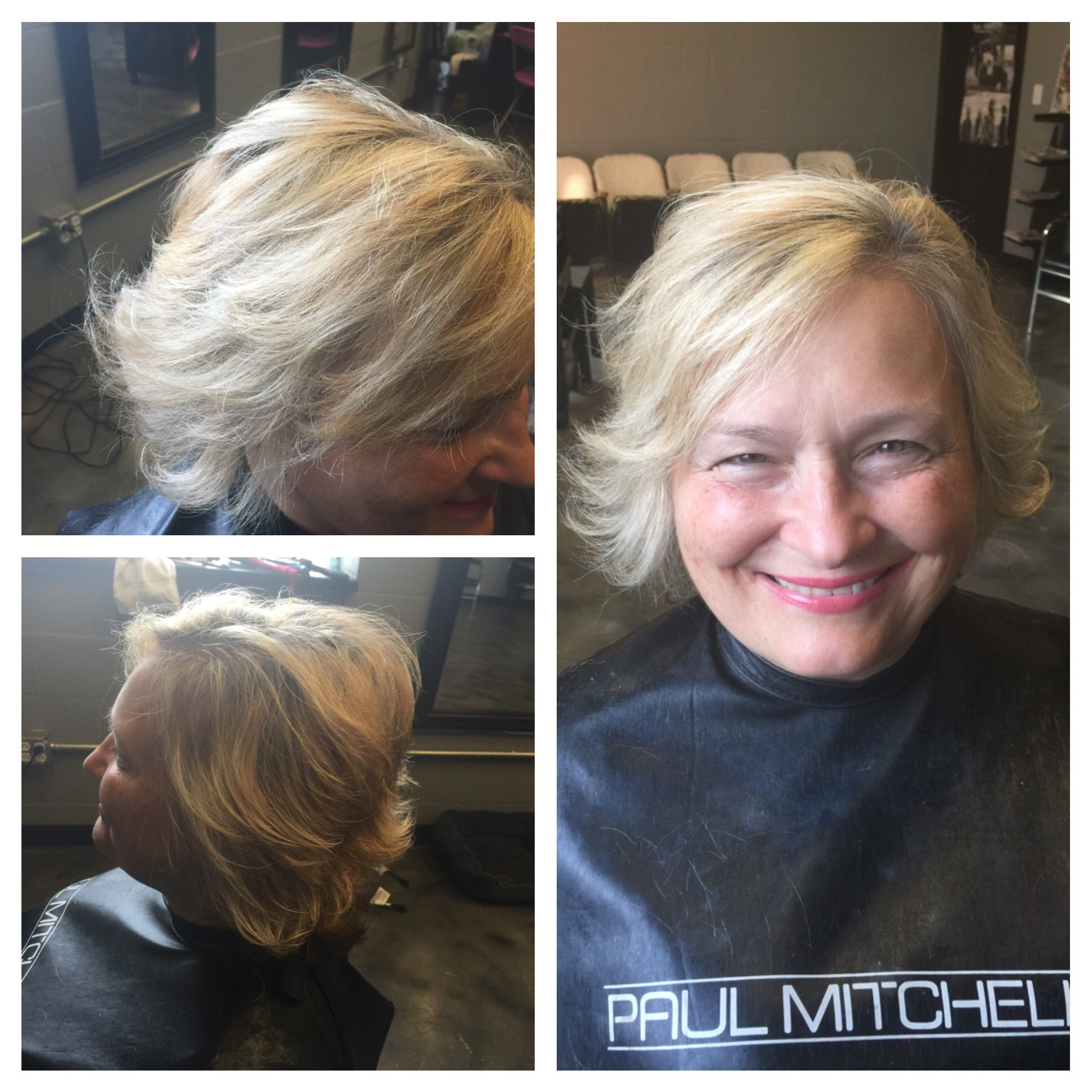 Pretty Hi lift Blonde hi lites twisted with a short shag Razor cut