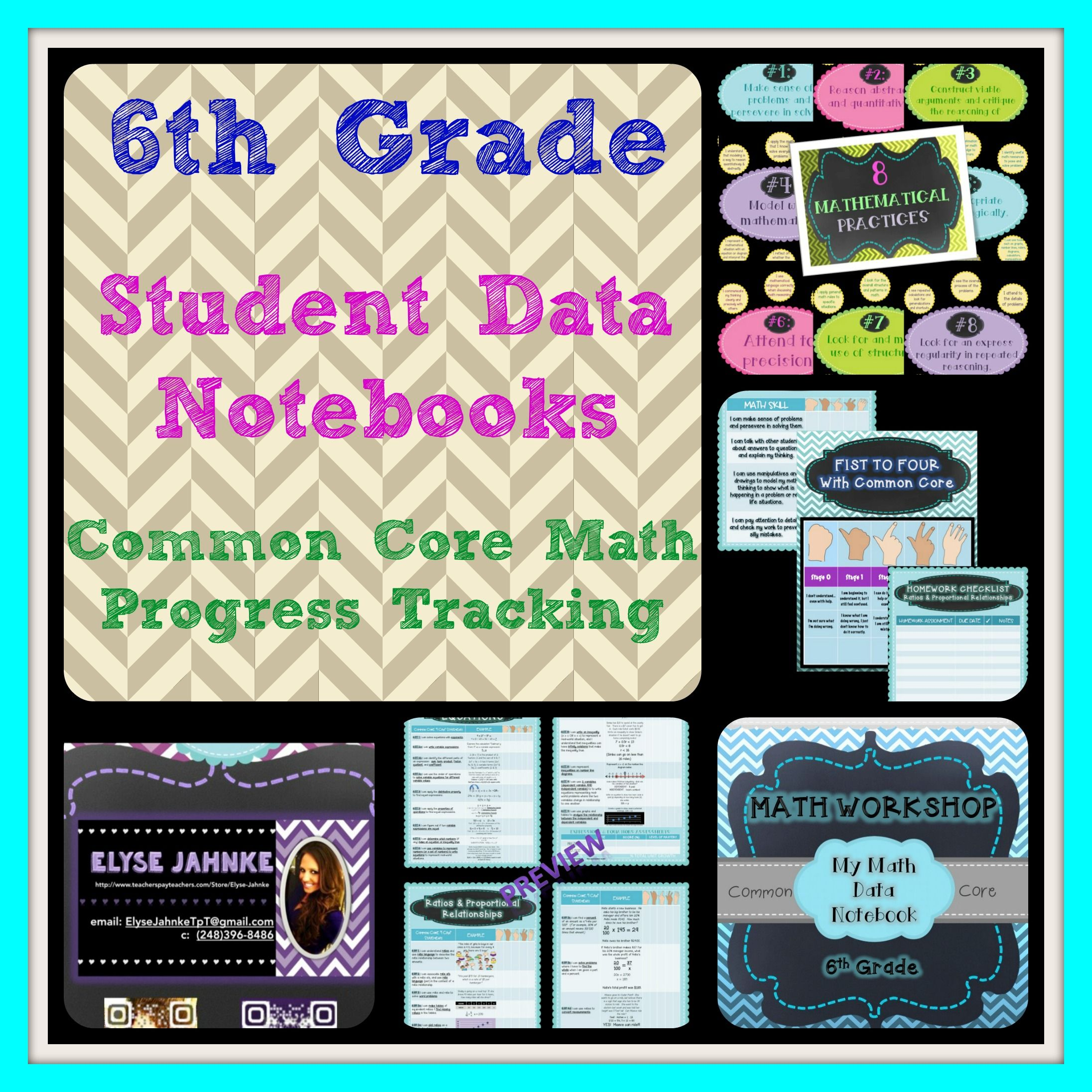 6th Grade Math Student Data Notebook Common Core