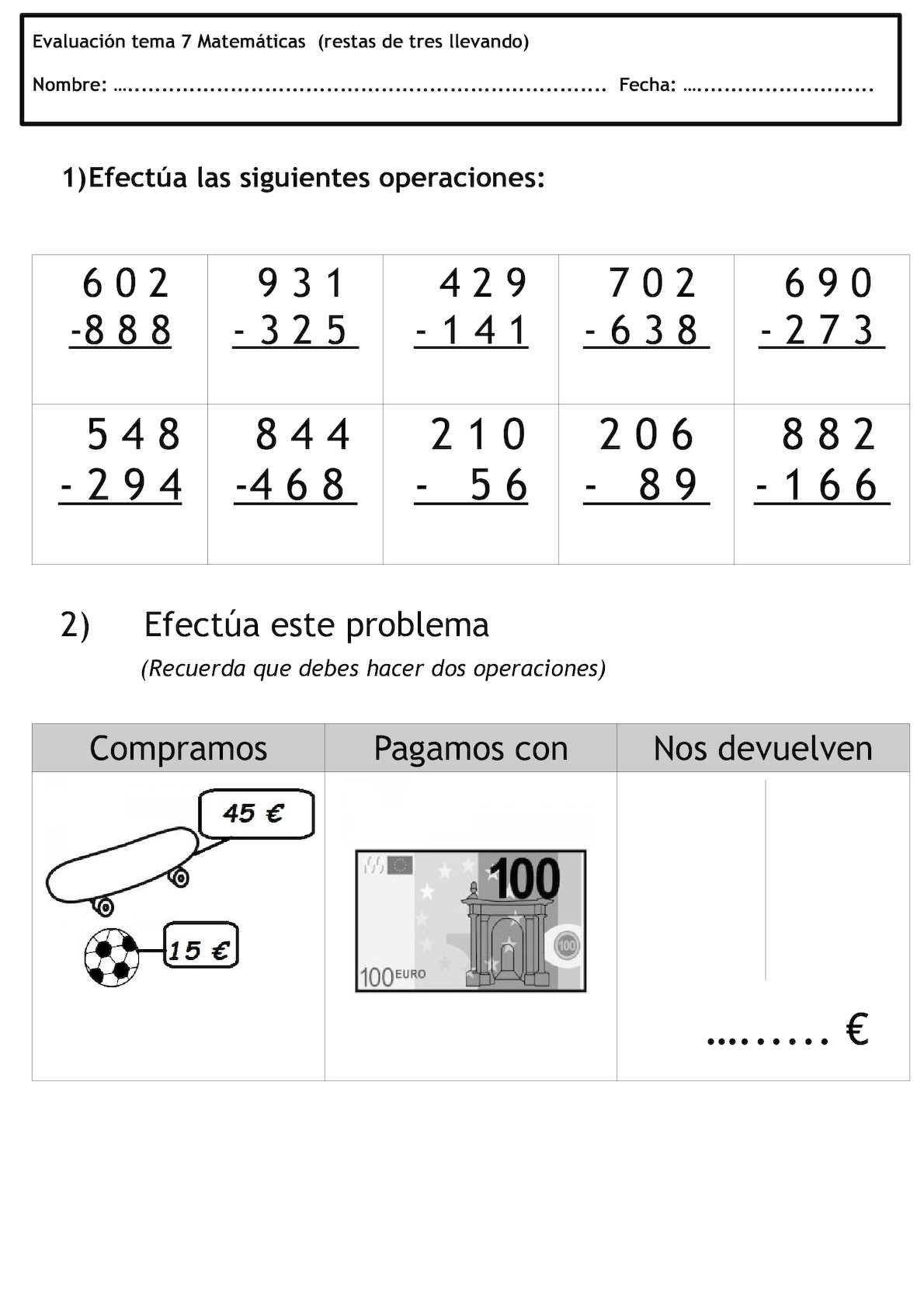Evaluacion Tema 7 Matematicas Restas De Tres Llevando