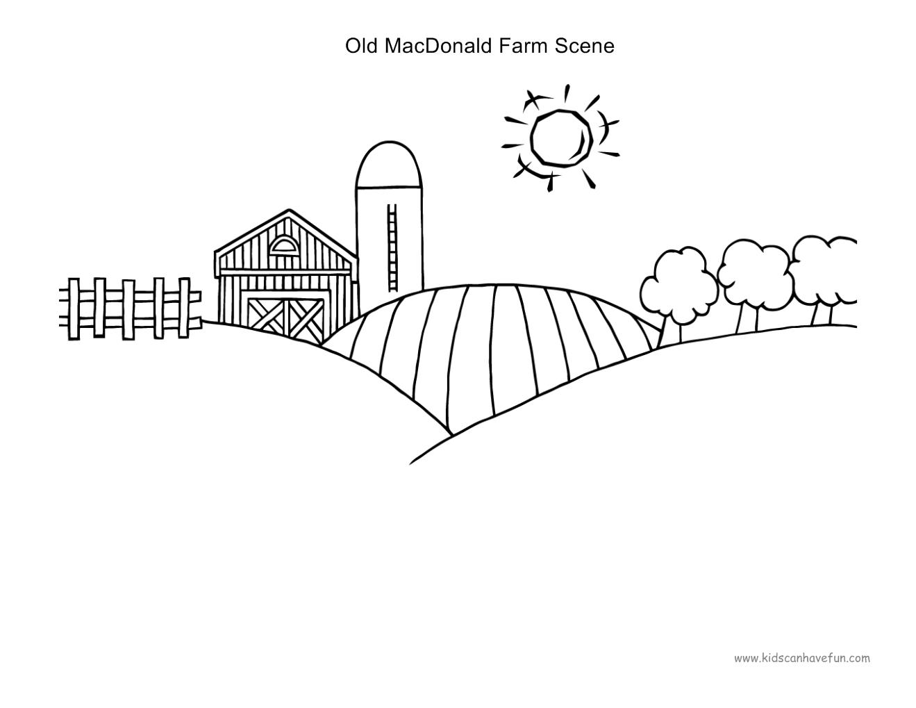 Old Macdonald Farm Scene To Paste B Amp W Farm Animals Dscanhavefun Cut Paste