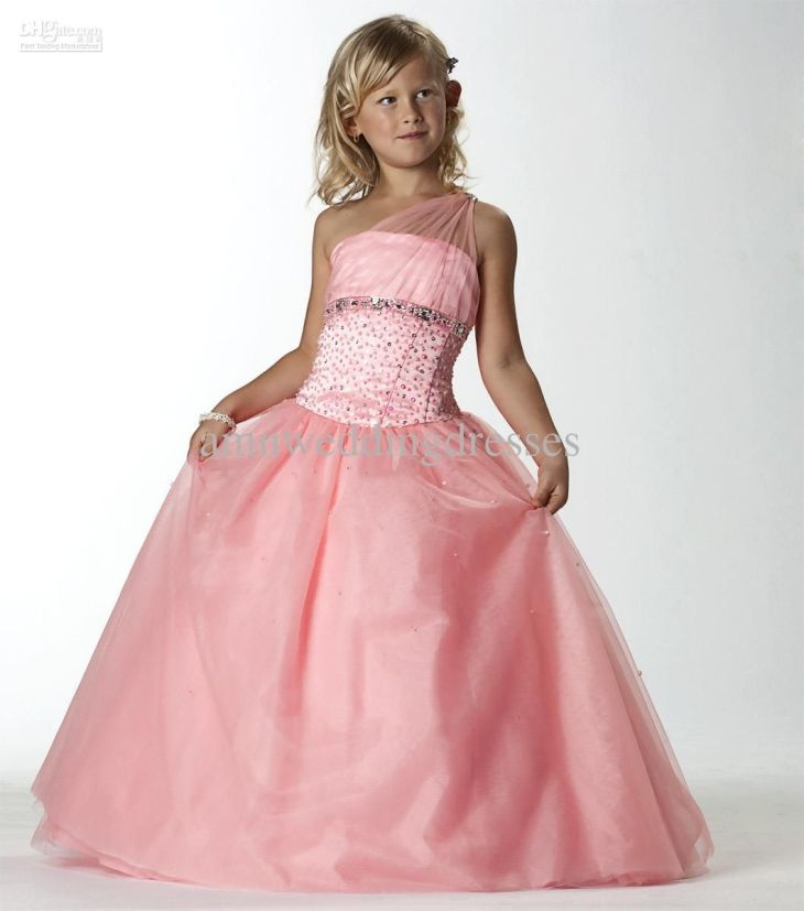 Pretty Pageant Gown Angels One Shoulder Pink Flower Girl Wedding