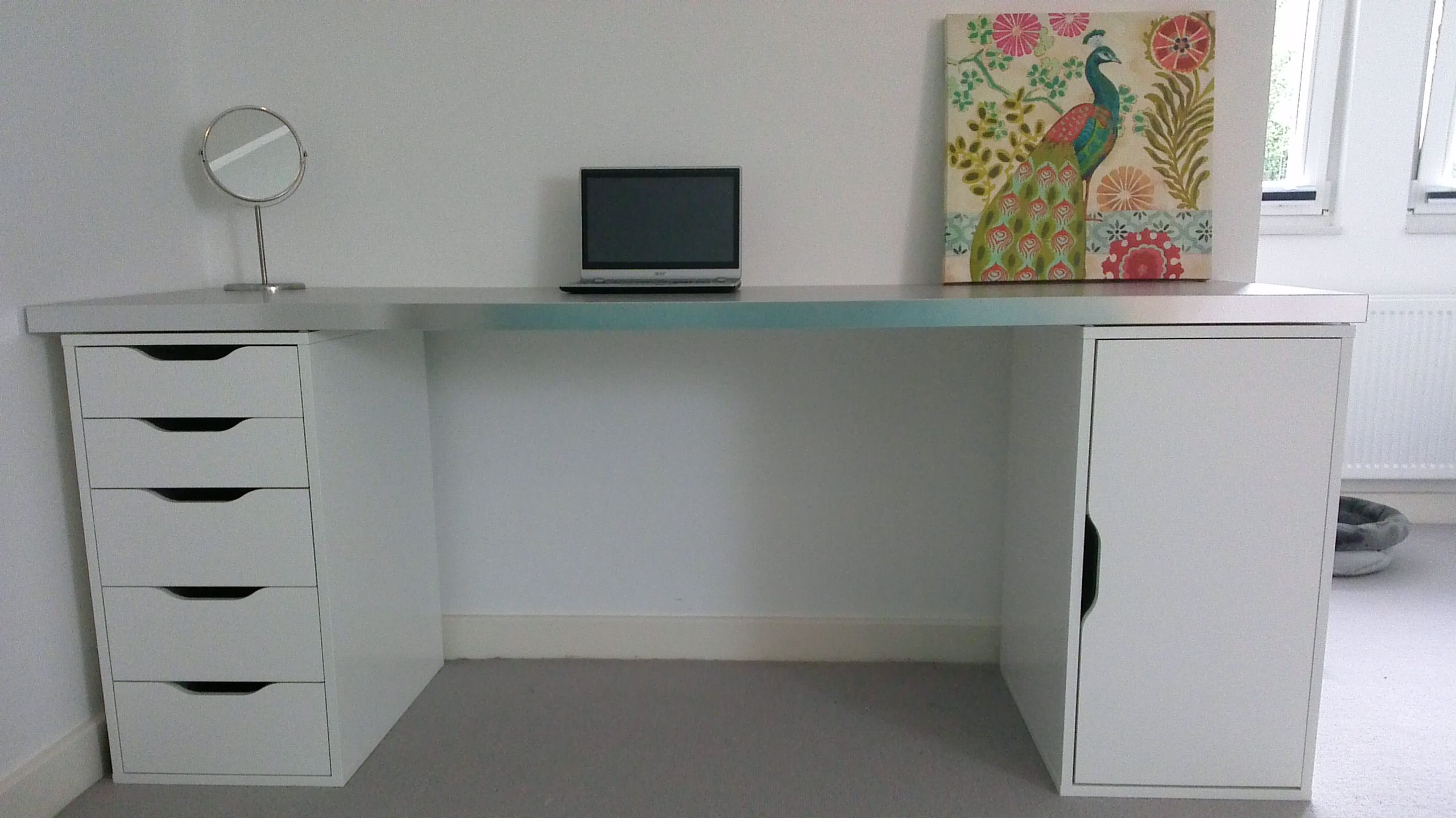 EXTRA LONG WHITE DESK WITH DRAWERS