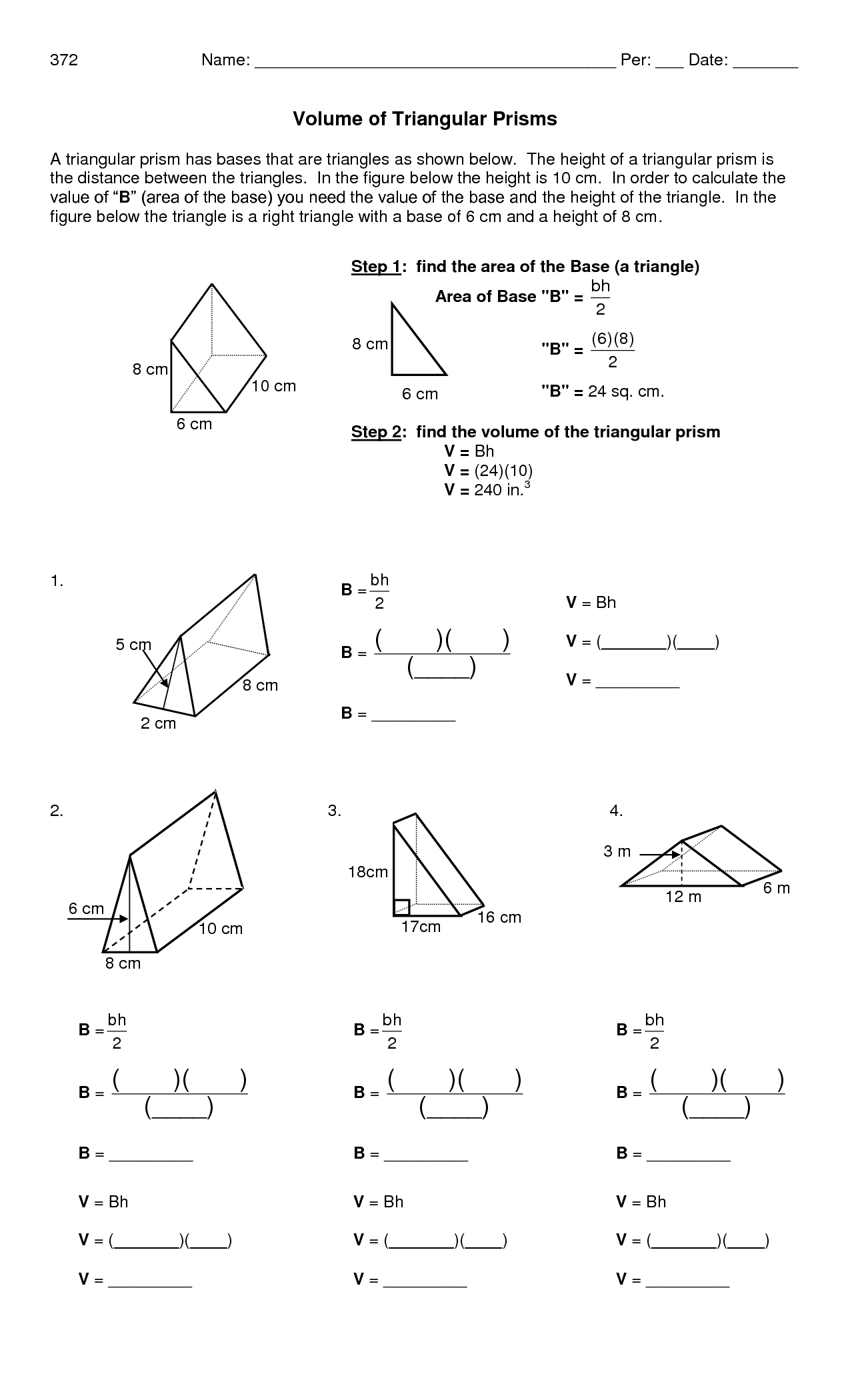 Worksheet For Volume Of Pyramids