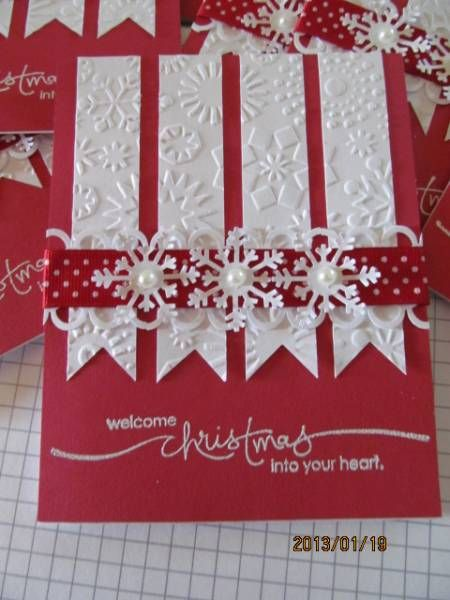 Lovely Snowflake Embossed White Banners On Red Cardstock