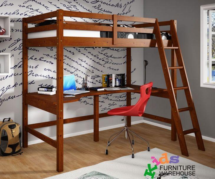 CDonco Trading espresso loft bed with desk underneath  kids study