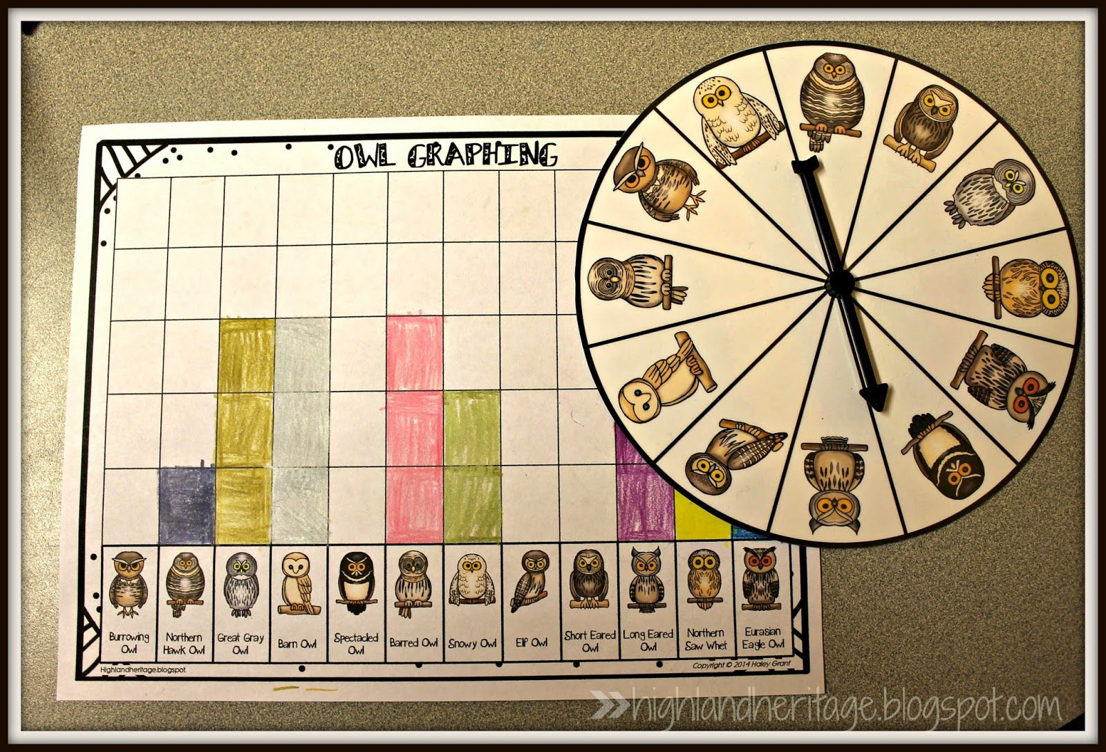 Free Packet Of Owl Math For Kinders Amp Firsties Spinner Graphing Ten Frames Worksheet
