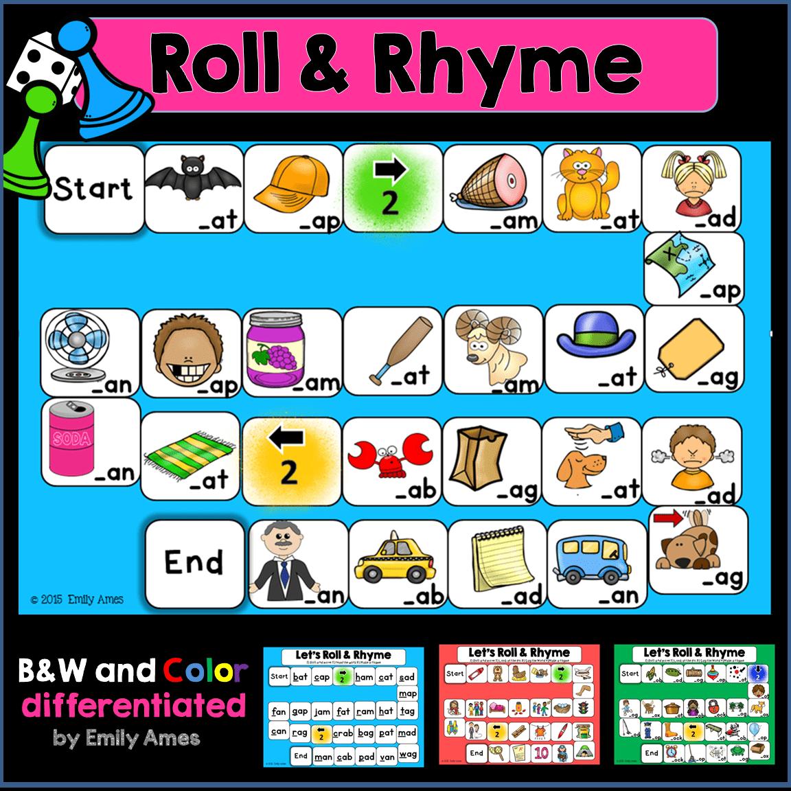 Rhyming Roll And Rhyme Board Games
