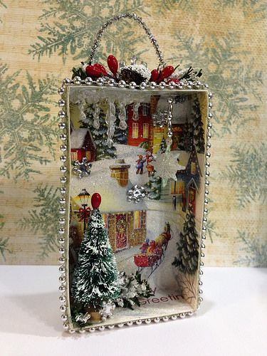 DIY Christmas Shadow Box From Old Christmas Cards DIY
