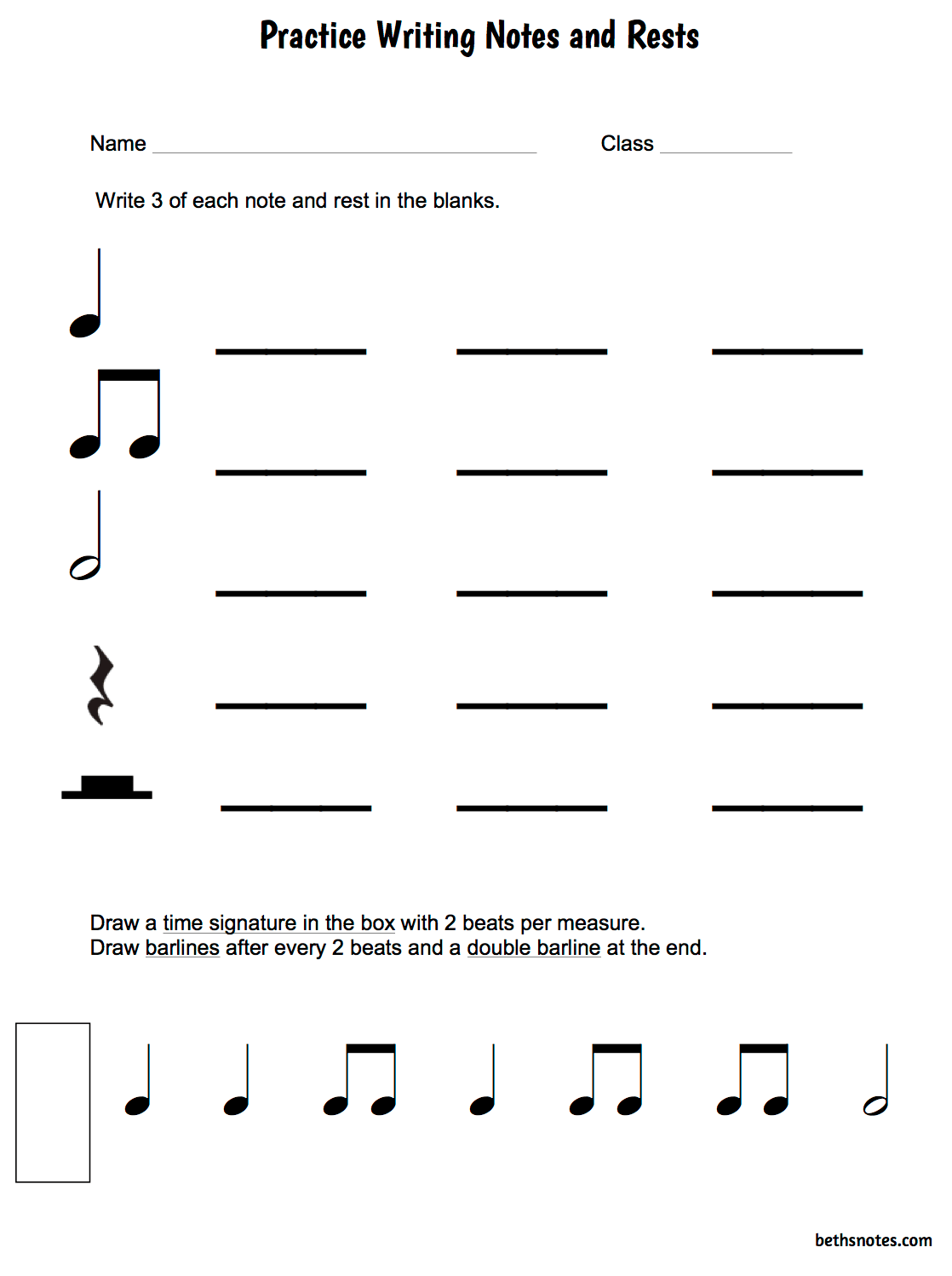 Beth S Music Notes 1st Grade Practice Writing Notes And Rests