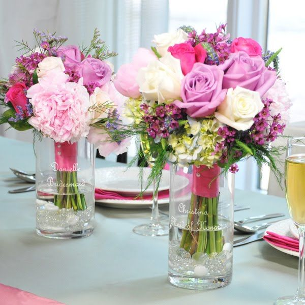 june wedding themes personalized bouquet holders for head table wedding ideas