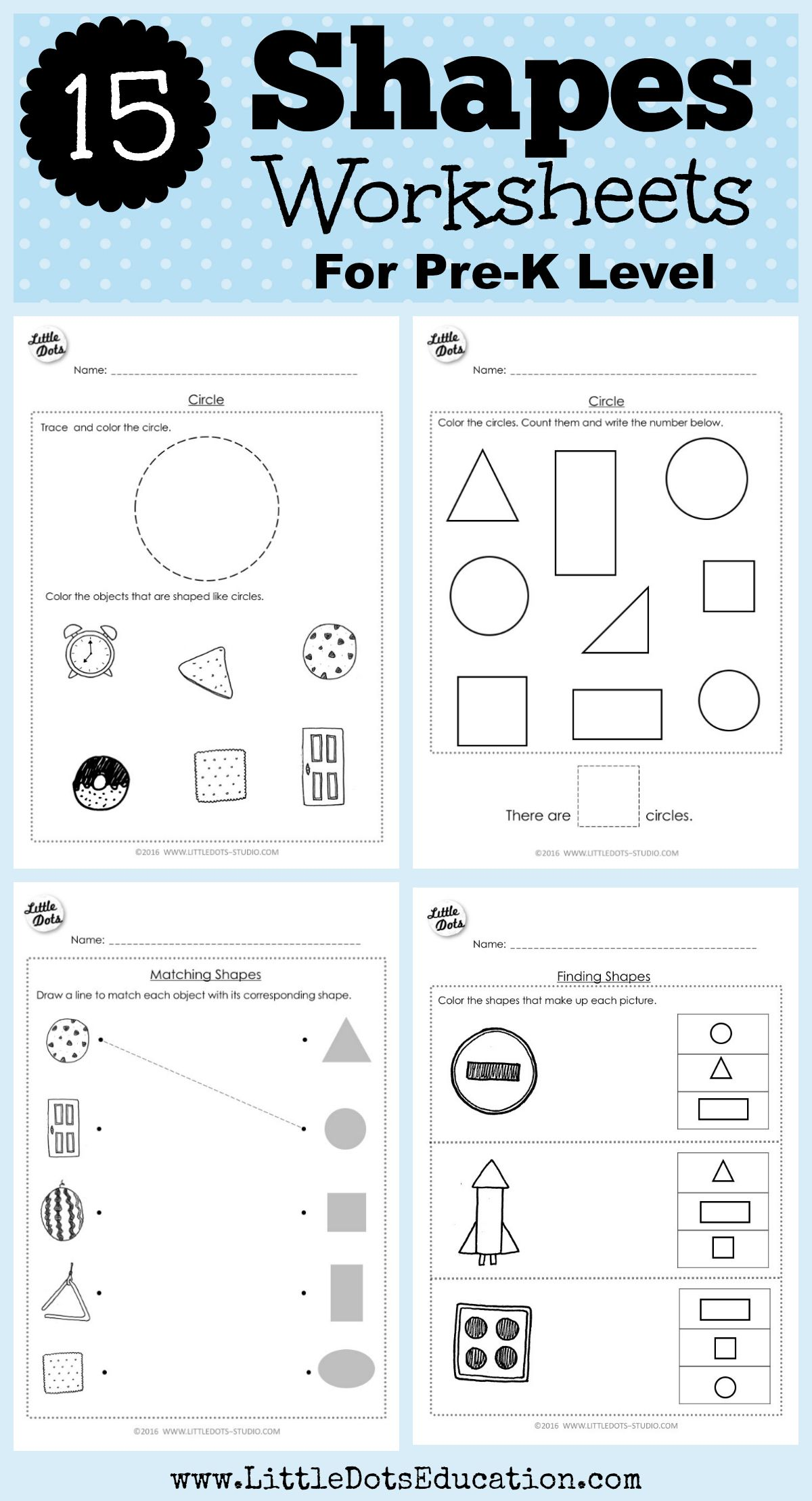 Download Shapes Worksheets For Pre K Or Preschool Class On