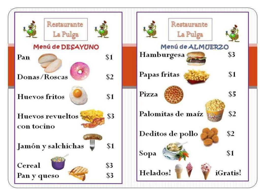 Spanish Menu Clipart Clipart Kid