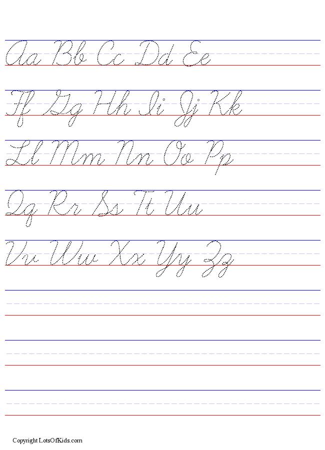 Cursive Worksheet Generator