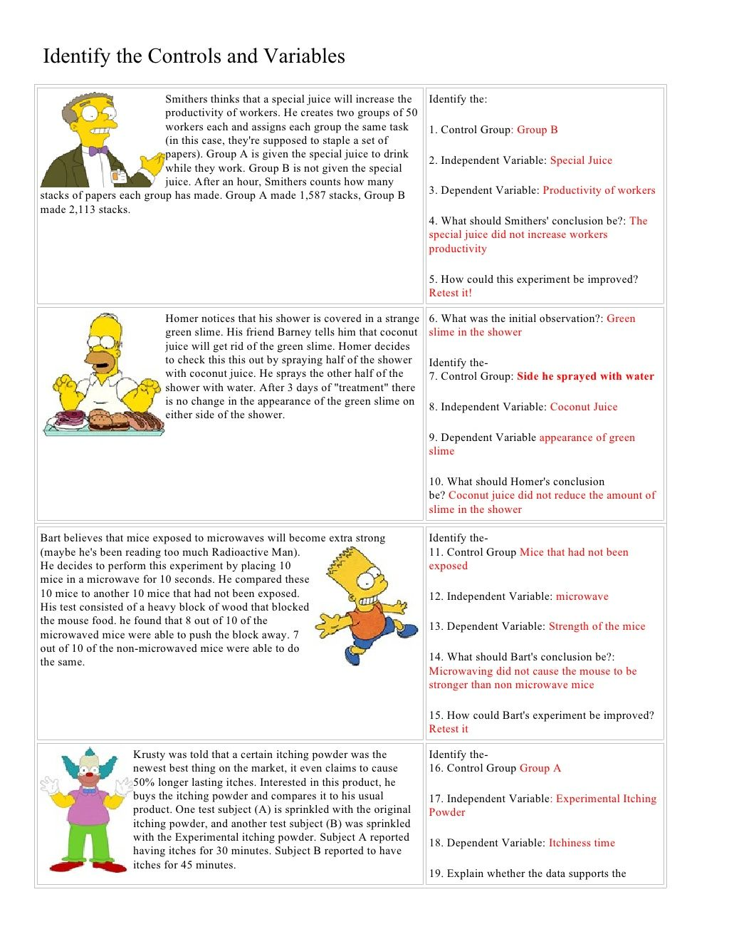 Bart Simpson Controls And Variables With Answers Quick And Fun Review Of Variables