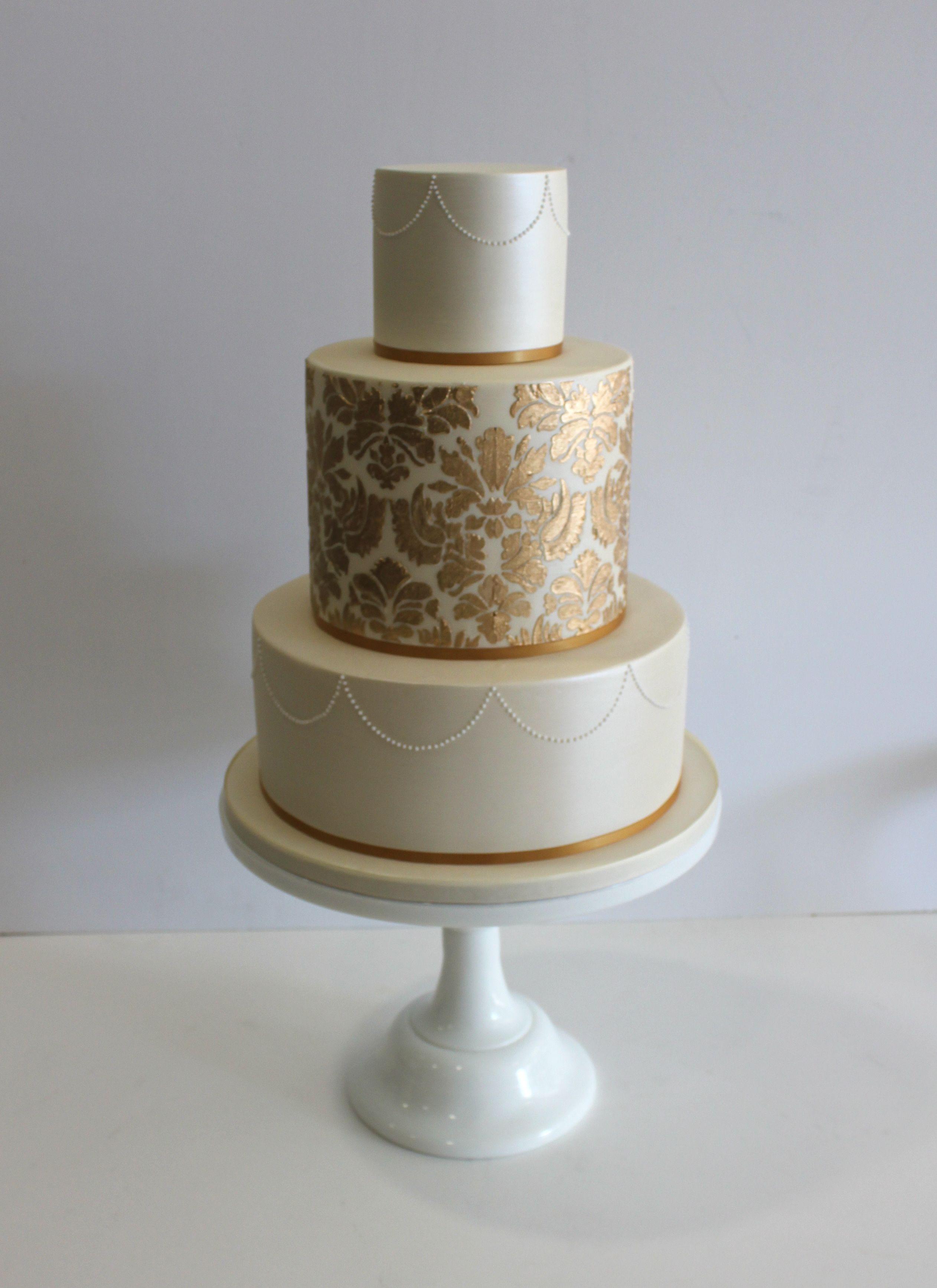 Faye Cahill Cake Design Gold Damask