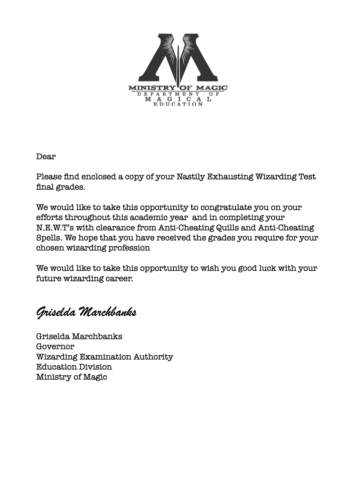 Harry Potter N E W T Results Cover Letter