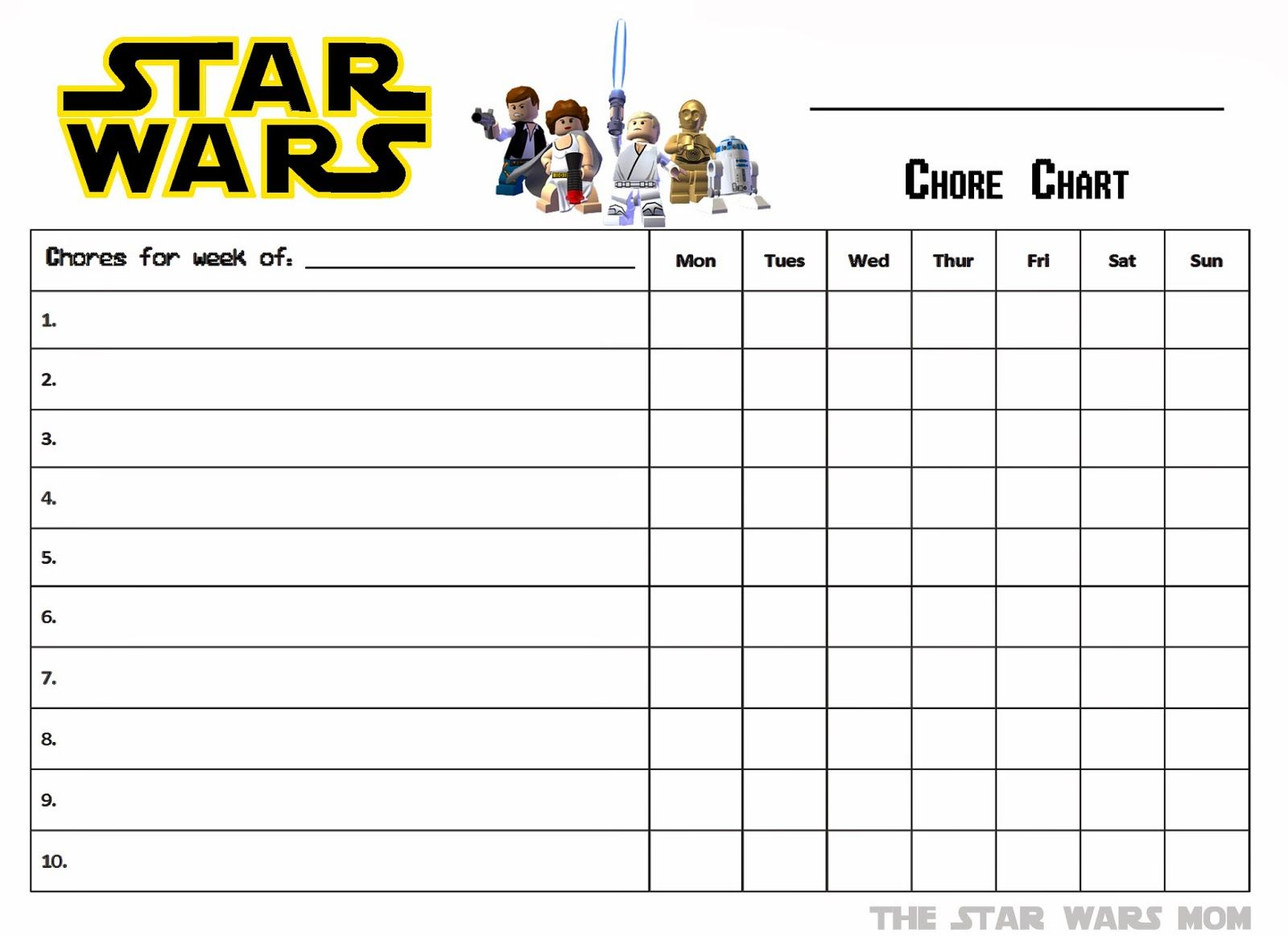 The Star Wars Mom Lego Star Wars Free Printable Chores
