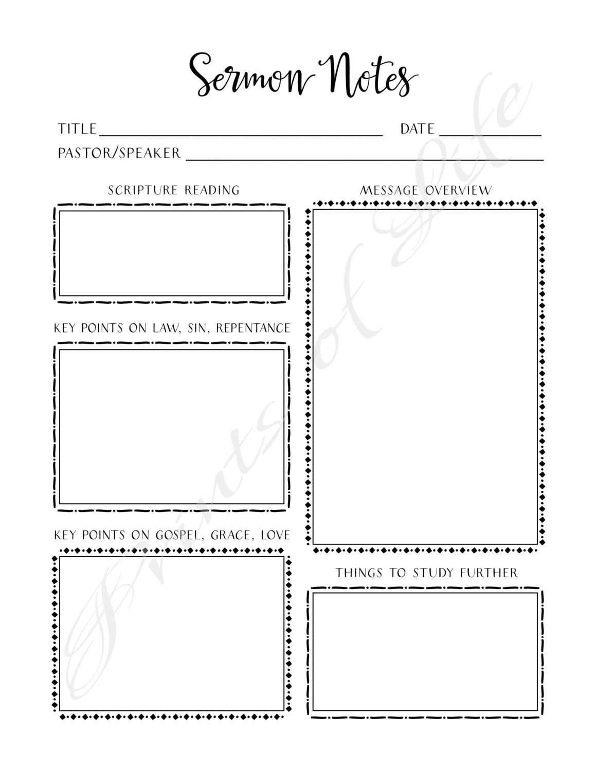 Sermon Notes Printable Instant Download By