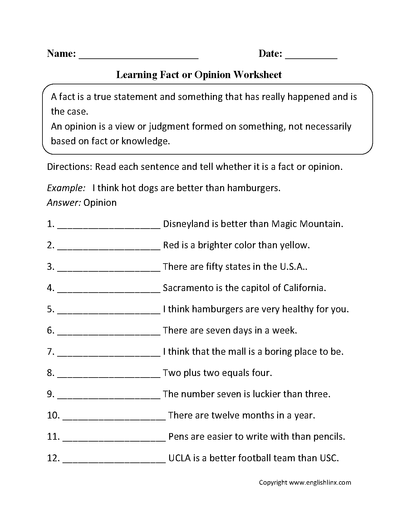 Learning Fact Or Opinion Worksheets