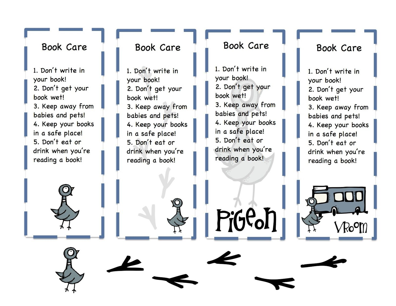 Book Care Bookmarks Printable