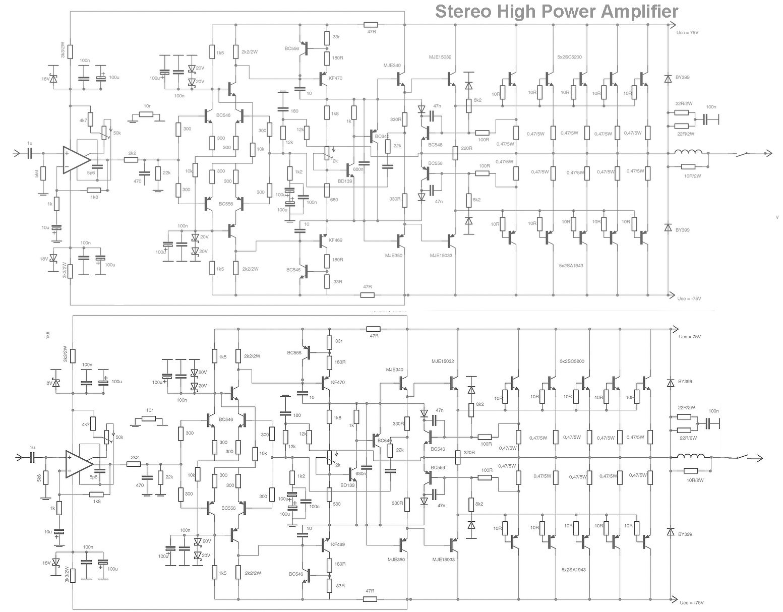 S Search Q High Power Amplifier Circuit