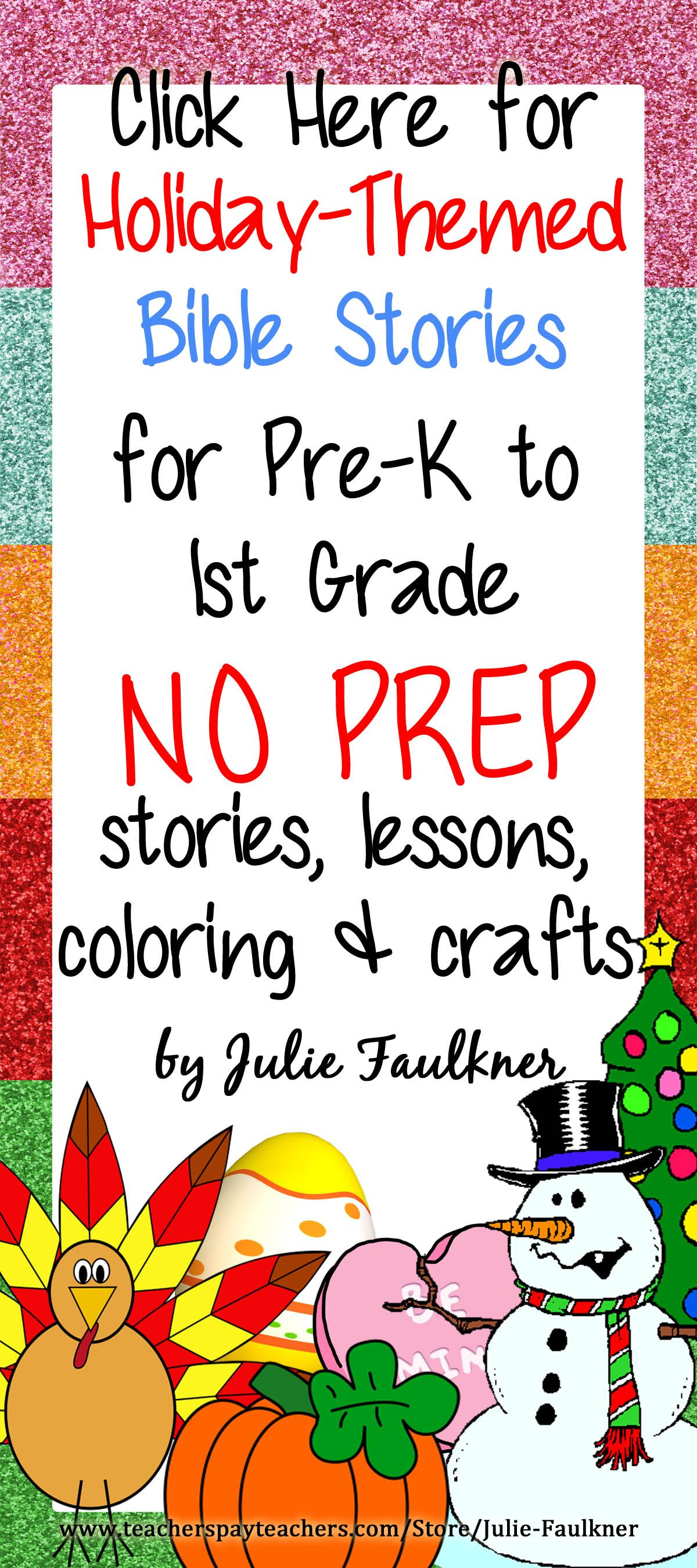 Holiday Themed Bible Lessons For Pre K To 1st Grade