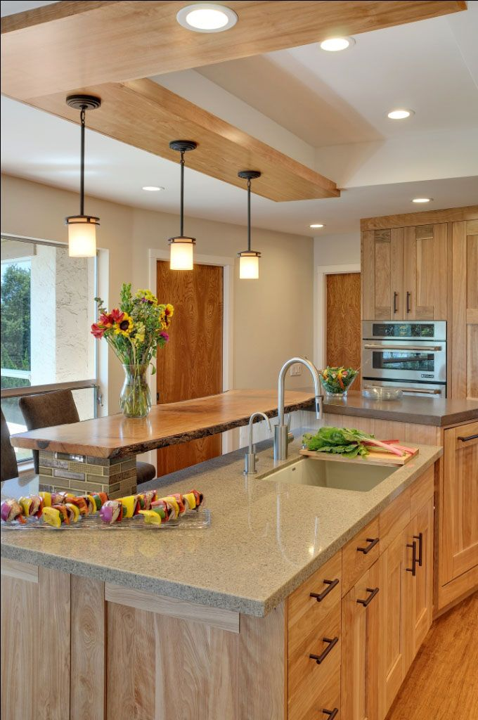 Contemporary Kitchen with Quartz Countertops and Red Birch ... on Maple Kitchen Cabinets With Quartz Countertops  id=71400