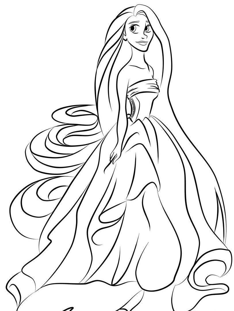 Beautiful Rapunzel Coloring Pages Cartoons Coloringarena Baby