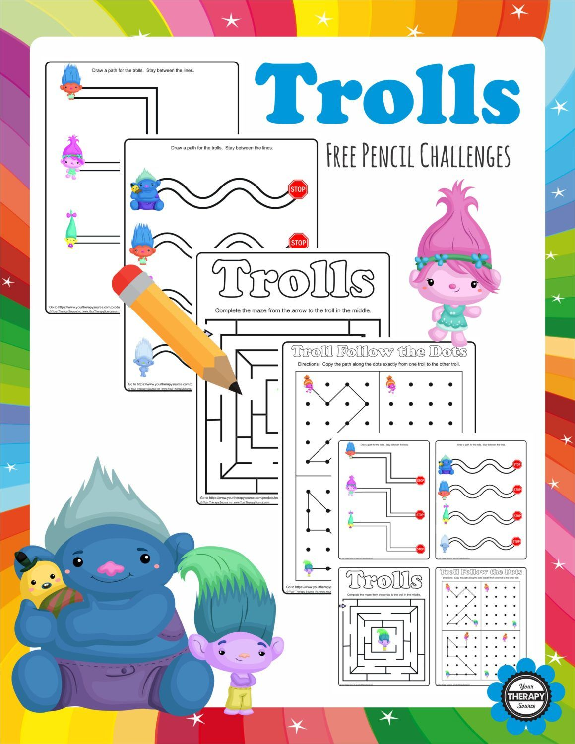 Trolls Pencil Challenges 4 Freebie Pages To Challenge Visual Motor Skills