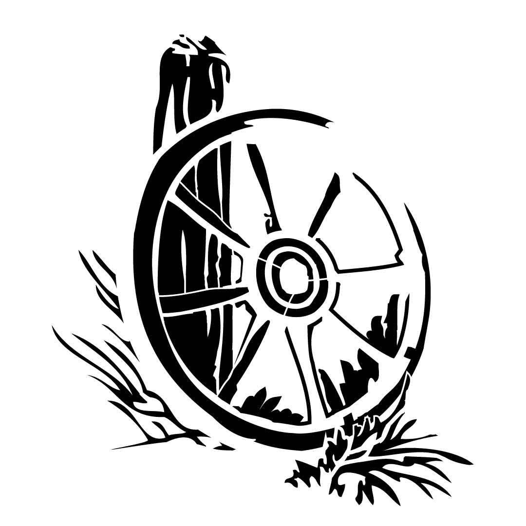 Western Pattern Of Wagon Wheel Reusable Laser Cut Stencil
