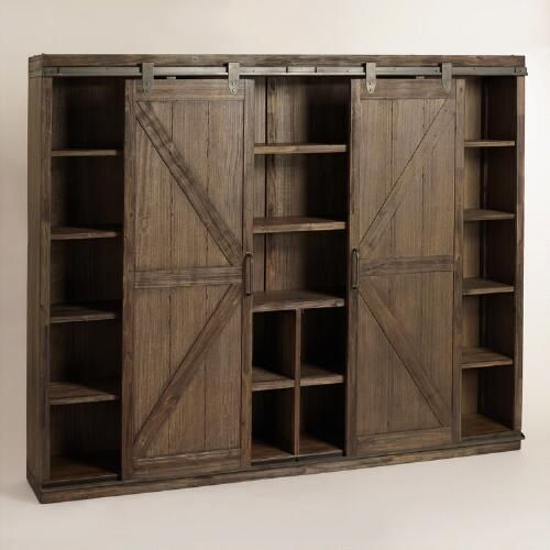Wood Farmhouse Barn Door Bookcase Barn Doors Tv