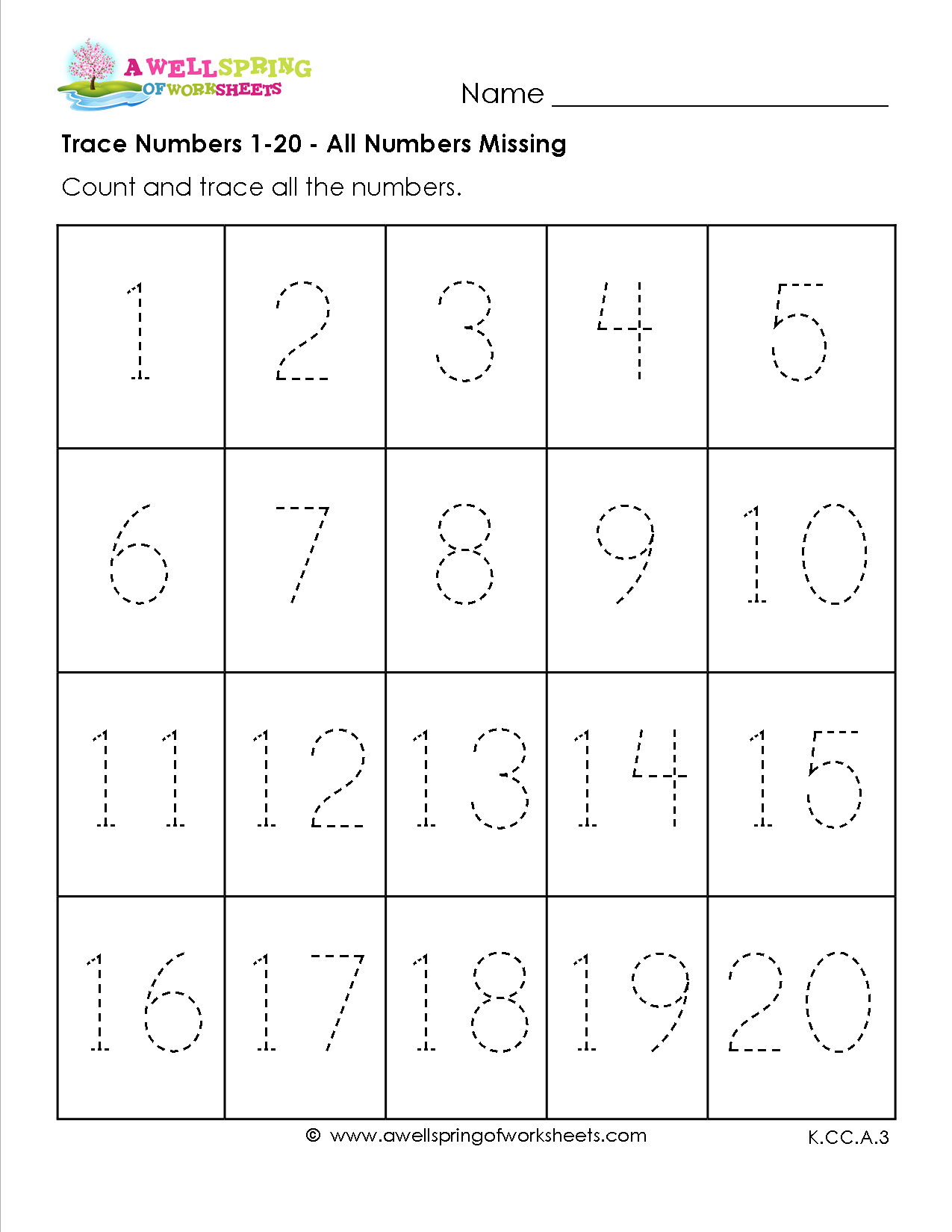 Trace Numbers 1 20 In These Six Number Tracing Worksheets Kids Trace All The Numbers Half The