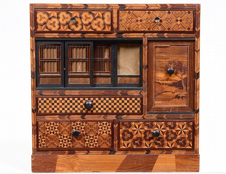 exotic woods inlaid table top cabinet japanese fitted with drawers sliding doors and a on kitchen organization japanese id=37513