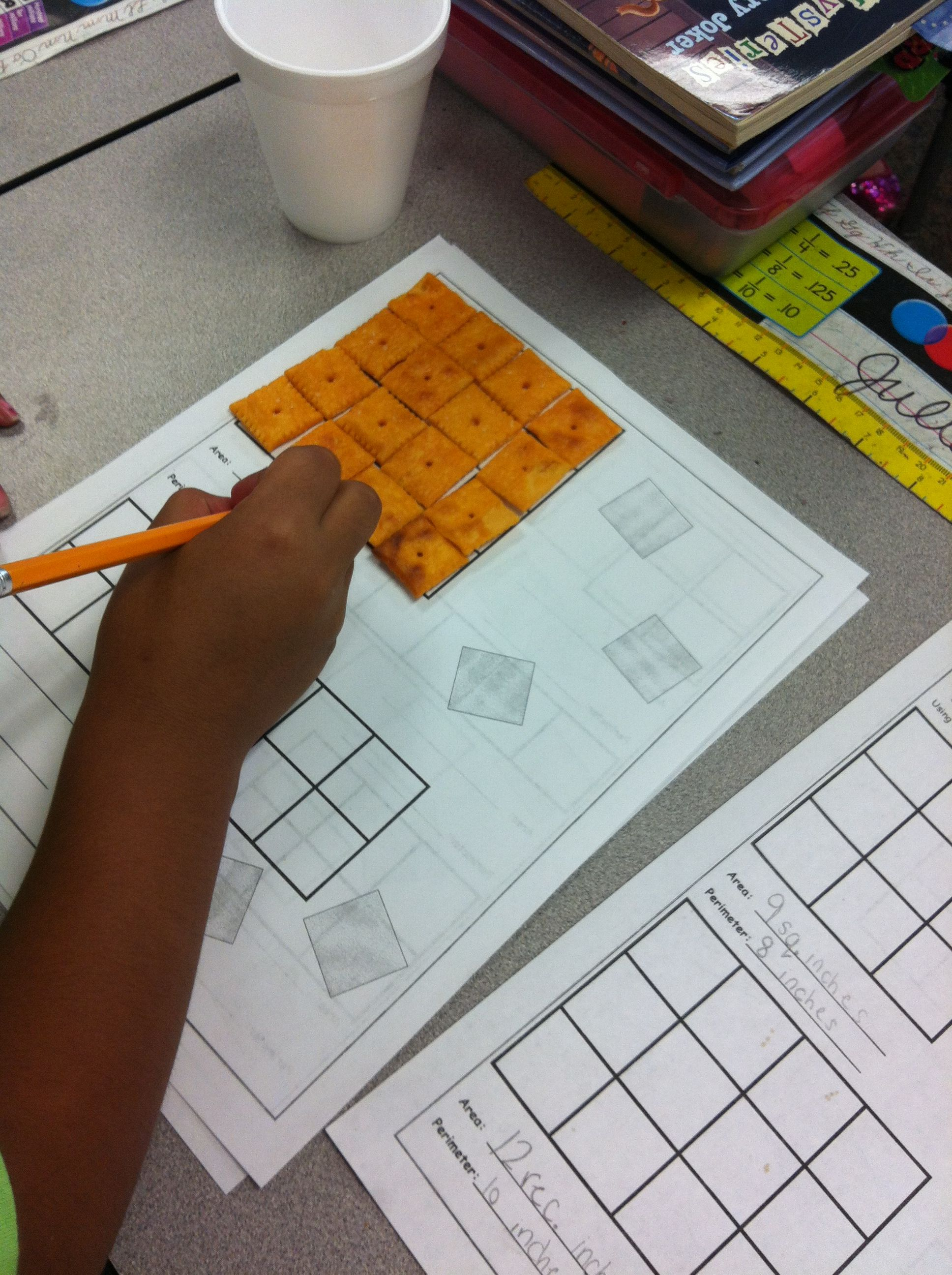Free Area And Perimeter Activity Use Cheese Crackers To