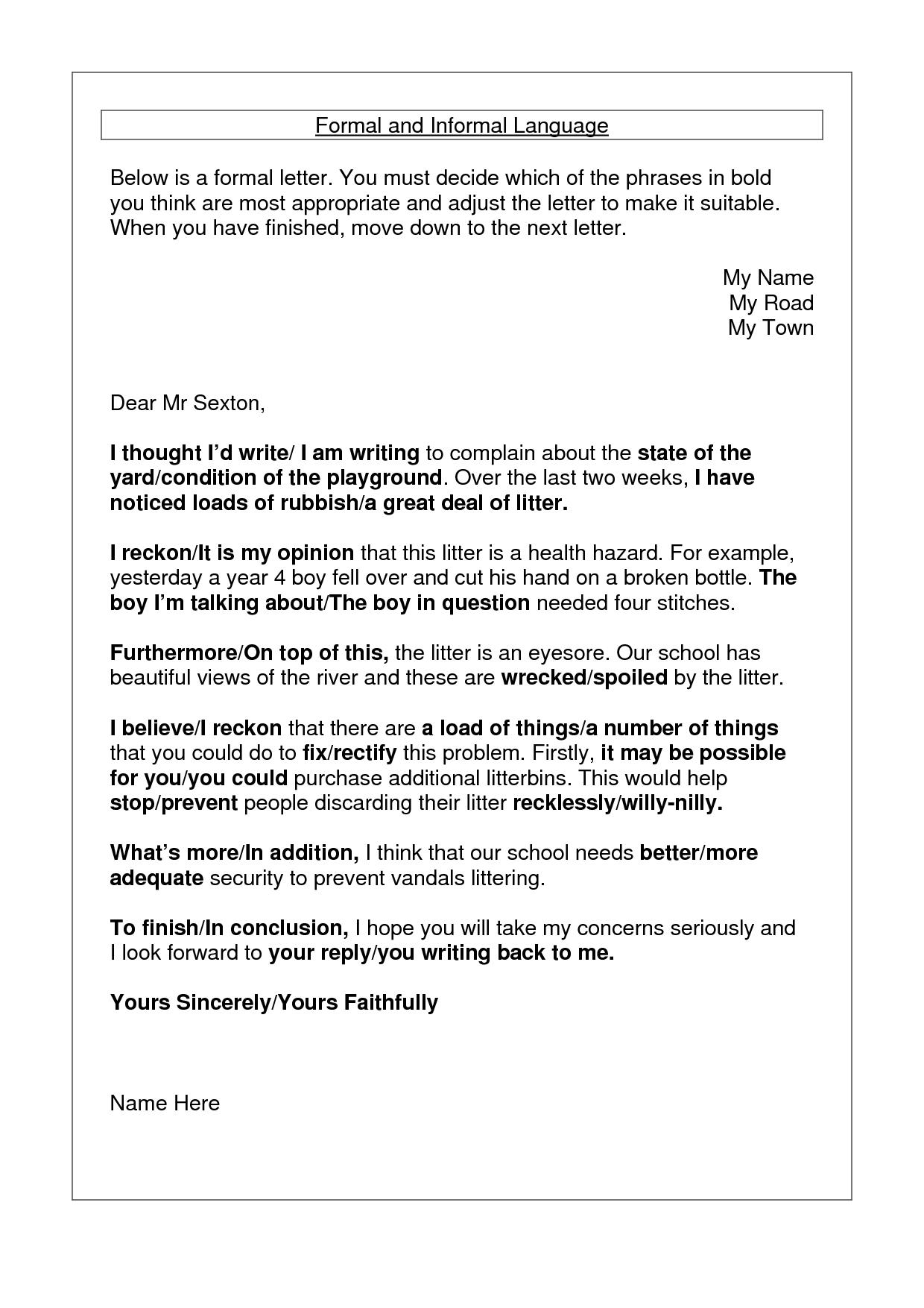 Formal Letter Sample Formal And Informal Language Writing