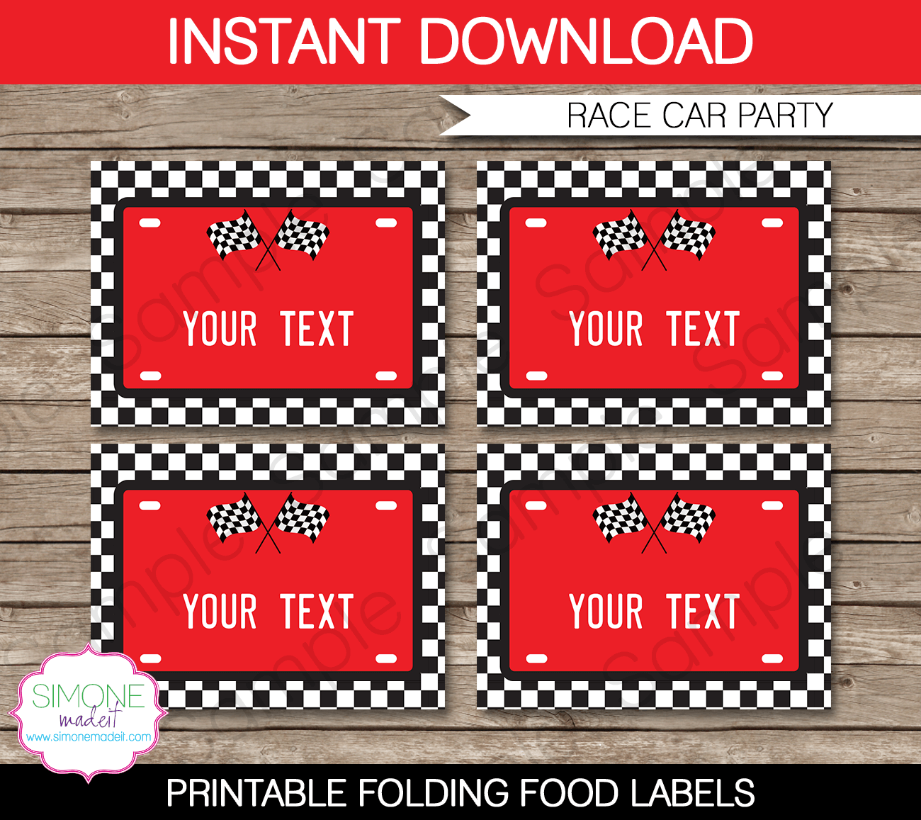 Race Car Party Food Labels Template Red