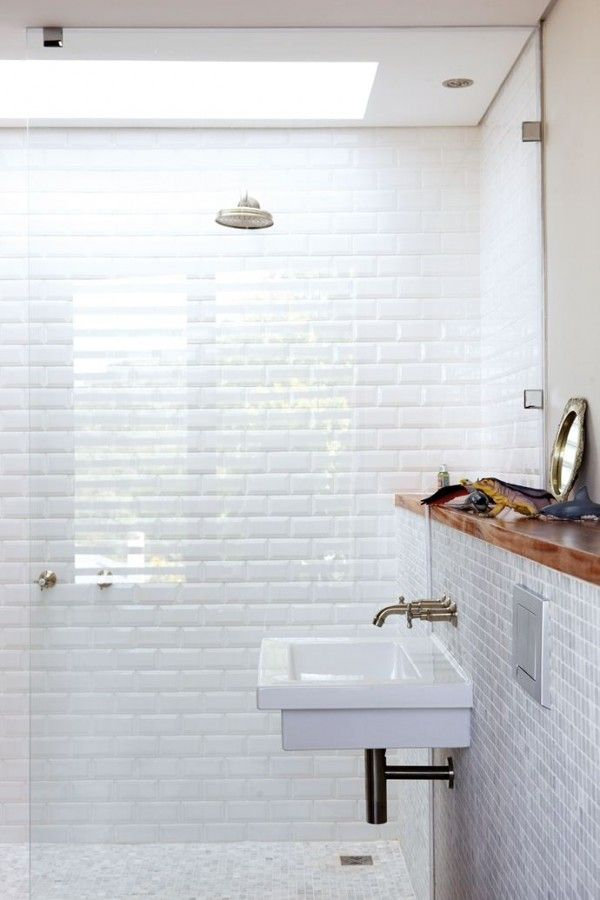 inspiration gallery: the modern bath | white tiles, skylight and