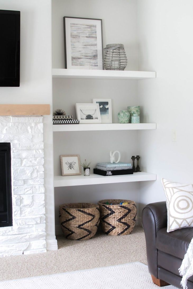 Styling Our New Floating Shelves gorgeous fireplace and builtin