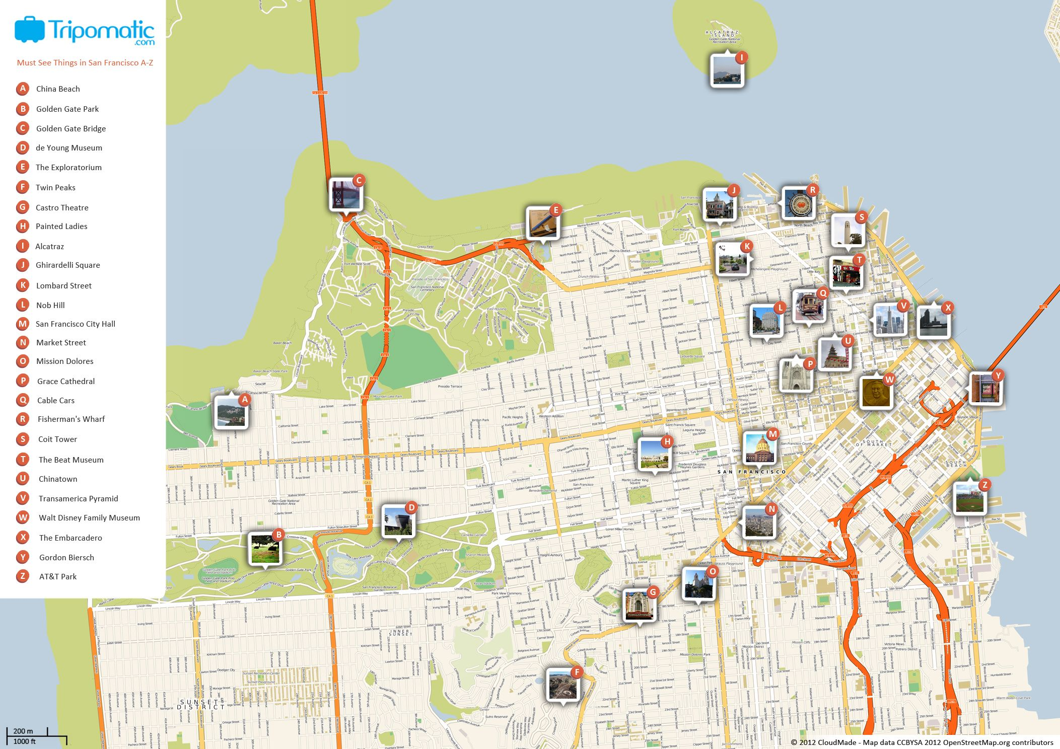 Free Printable Map Of San Francisco Attractions