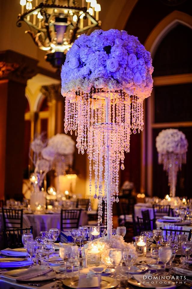 Look At These Tall Sphere Centerpieces With Chandelier Bases Photo By