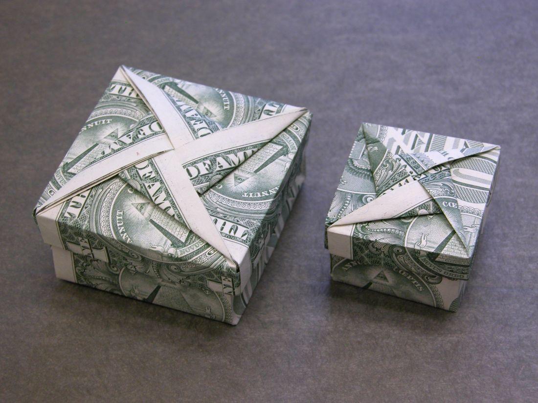 Dollar money origami box with star cover money dollar