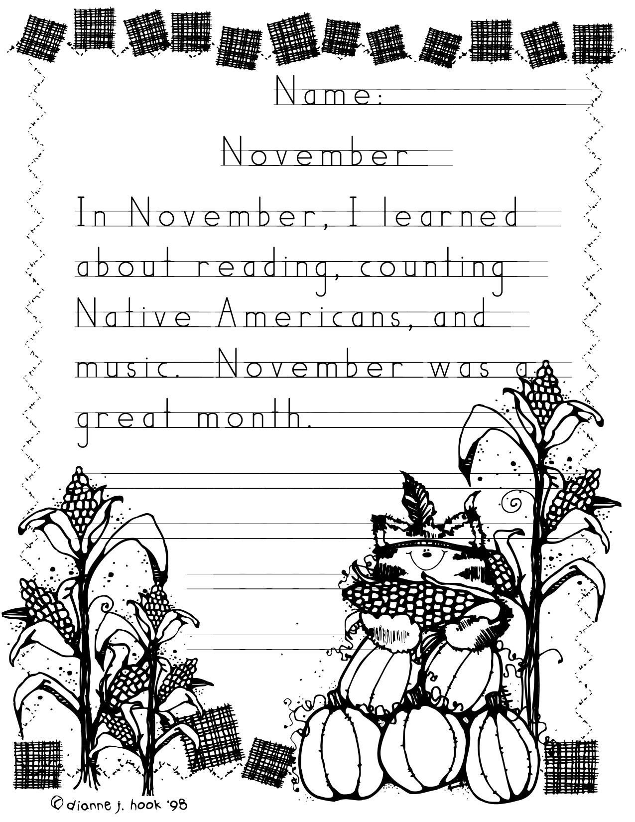 Adorable Thanksgiving Writing Paper For Kinder Or First