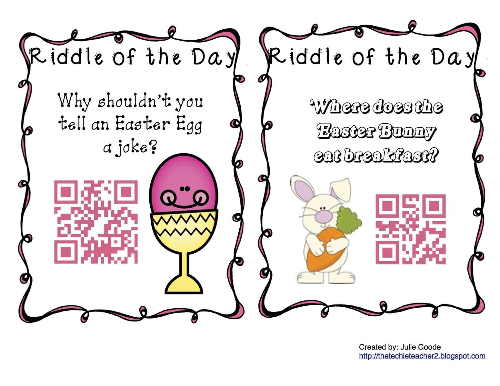The Techie Teacher Qr Code Spring Riddles Of The Day Freebie