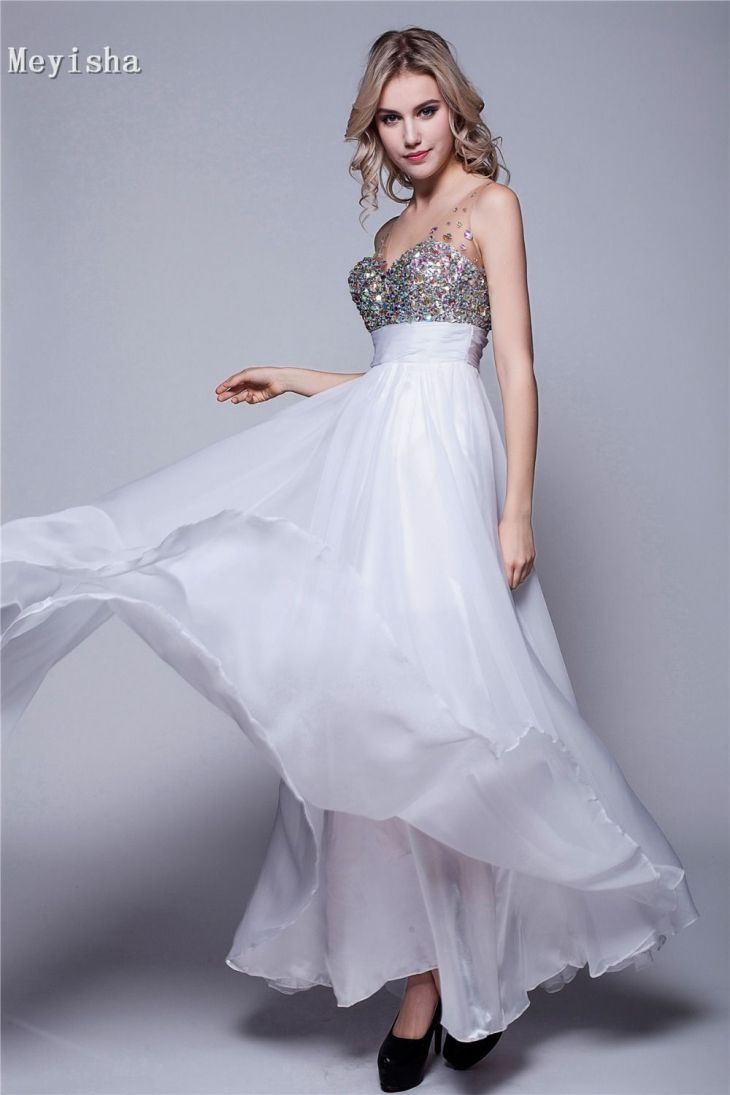 Click to Buy ucuc ZJ sexy champagne white formal diamond